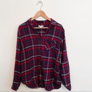 Beachlunchlounge Plaid Lightweight Flannel Red XS